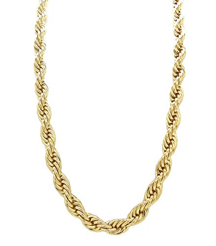 """Fashion 21 Hip Hop 80' Unisex Rapper's 8mm 24"""", 30"""" Hollow Rope Chain Necklace in Gold, Silver Tone (Gold - 8mm 30"""" Rope Chain)"""