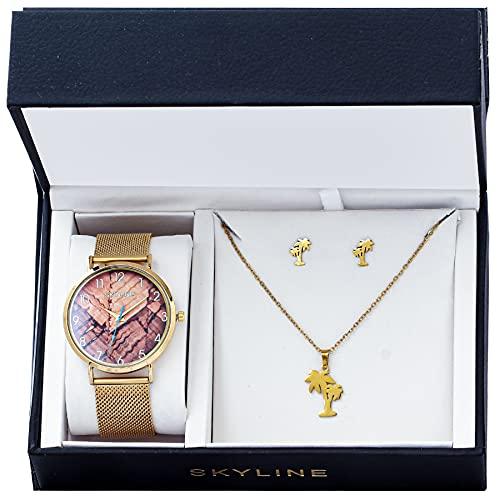 SKYLINE, Conjunto de Accesorios para Mujer, Reloj de Pulsera con Correa de Malla, Collar y Pendientes con Diseño de Palmera, Acero Inoxidable, Cumpleaños, Aniversario, etc, Dorado