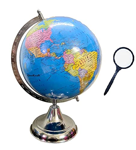 GeoKraft Political Educational 8 Inch Rotating World Globe with Nickel Plated Metal Base,Blue,Pack of 1 set