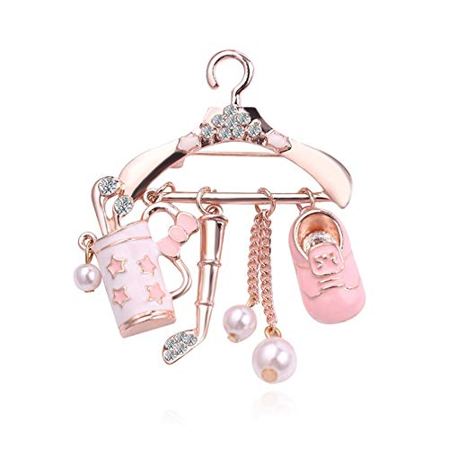 Qpodgq Brooch Mini Coat Hanger Shining Crystal Pearl Brooch For Women Enamel Brooch Pins Badges Pendants