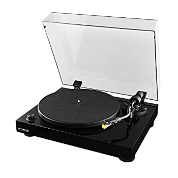 Fluance RT80 Classic High Fidelity Vinyl Turntable Record Player with Audio Technica AT91 Cartridge Belt Drive Built-in Preamp Adjustable Counterweight Solid Wood Plinth - Piano Black
