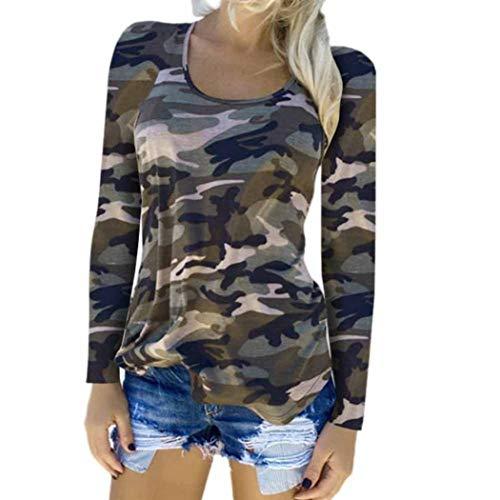 Langarmshirt Damen Mode Bluse Casual Shirt T Wesentlich Hemd Damen Camouflage Langarm Sweatshirt Pullover Lose Tops Oberteil (Color : Green, Einheitsgröße : XXL)