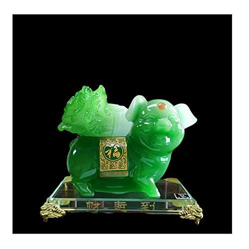 Statua Feng Shui Chiński Zodiak Świnia Statua, Ozdoby świnia Przenoszenie kapusty, biurko, domowe dekoracje samochodowe wnętrz Otwieranie prezentów/z przezroczystą bazą Wystrój Feng Shui