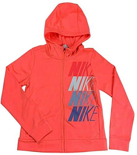 Nike Girls Dri-Fit Therma Full Zip Hoodie Sweater Shirt Pink CJ4374 (Small)