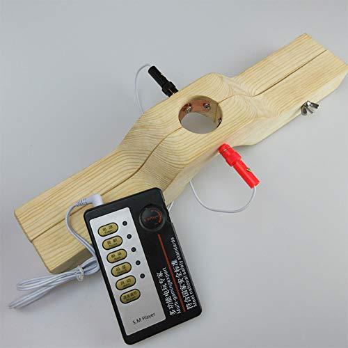 COSY-L SM Penis Bondage Spielzeug mit Elektroschock Steuerung - Hodensack Clip Hoden Länglicher Stimulator - Sexualverstärker für Den Menschen,Wood Color