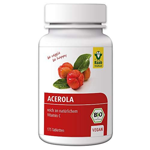 Raab Vitalfood Bio Acerola-Tabletten, 175 Stück, Vitamin C aus Acerola unterstützt die normale Funktion des Nerven- und Immunsystems, vegan, 88 g