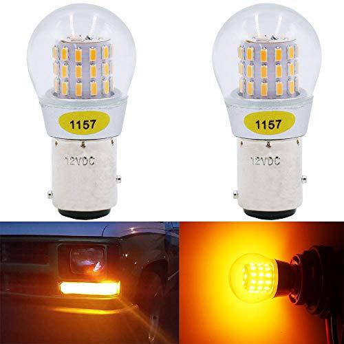 AMAZENAR Paquete de 2 1157 BAY15D 1016 1034 7528 2057 2357 LED de Luz ámbar/Amarillo 12V-DC, AK-3014 39 Bombillas de Repuesto SMD para Luces de Giro de La Cola de Repuesto