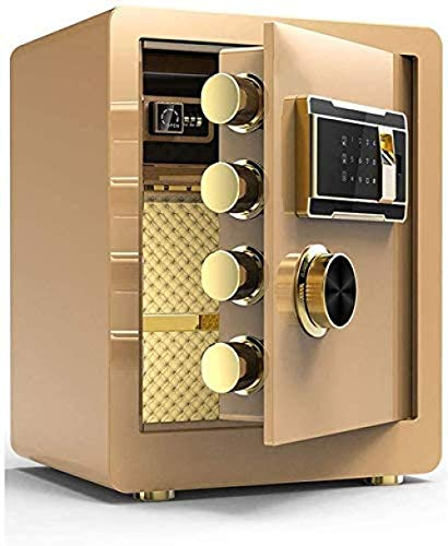 REWD Safes para la seguridad en el hogar con huellas dactilares, cerradura de 3 capas, 32 mm, candado con contraseña Dark Box-Safes para la seguridad en el hogar dorado (tamaño: 38 x 32 x 45)