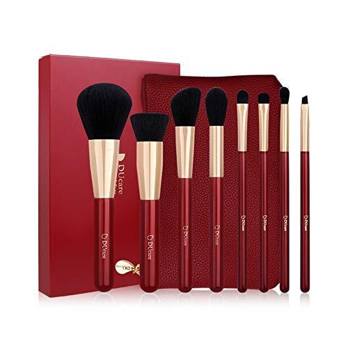 8 Ensemble de brosse de maquillage, brosse synthétique de fondation, brosse à poudre lâche professionnelle avec un sac (rouge de vin)