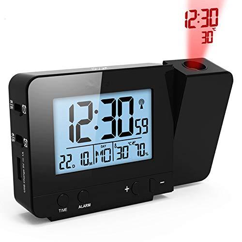 TenYua Projektionswecker, digital, Datumsanzeige, Schlummerfunktion, Hintergrundbeleuchtung, drehbar, Aufwach-Projektor, multifunktional, LED-Uhr (schwarz)
