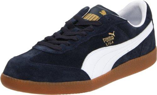 Puma Liga Leather Mens Trainers in Navy Gum
