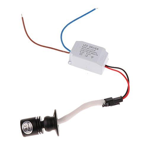MagiDeal 1W Mini LED Lampe Einbauspot Nachtlicht DIY Beleuchtung mit Transformator für Schrank Weinschrank - Schwarz + Warmweiß 3000k