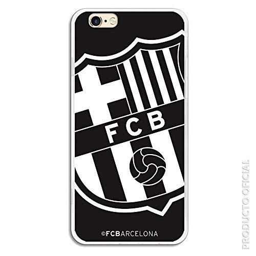 FC. Barcelona Funda para iPhone 6-6S Oficial Escudo Grande Negro Carcasa de Silicona para iPhone Resistente y Flexible con Licecia Oficial