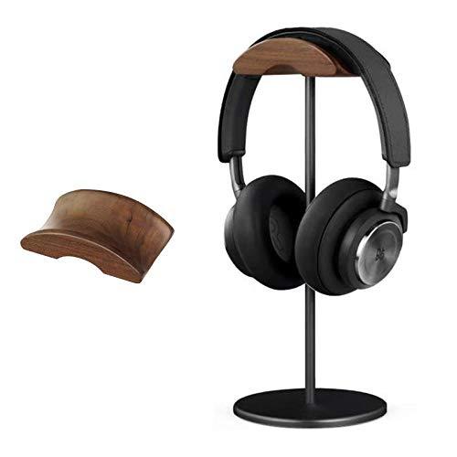 Kopfhörerständer Holz Headset Halter PC Gaming Kopfhörerhaken Aufhängetisch mit Nussbaumkopfstütze Aluminium-Stützstange und rutschfester Siliziumbasis für die meisten Kopfhörergrößen (Black-Nussbaum)