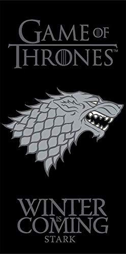 Game of Thrones Badetuch Schwarz Grau Stark 70 cm x 140 cm 100% Baumwolle Velours Strandlaken Strandtuch Handtuch Badelaken Saunatuch G.o.T. Winterfell John Schnee König des Nordens winter is coming