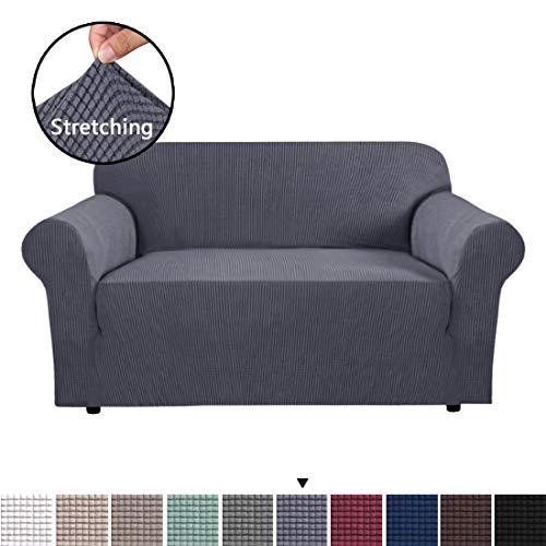 BellaHills Stretch Sofa Schonbezug Separate Kissen Couch Bezug, Sessel Loveseat Ersatzmantel für Ektorp Universal Sleeper, Checks Spandex Jacquard Stoff (2 Sitzer, Grau)