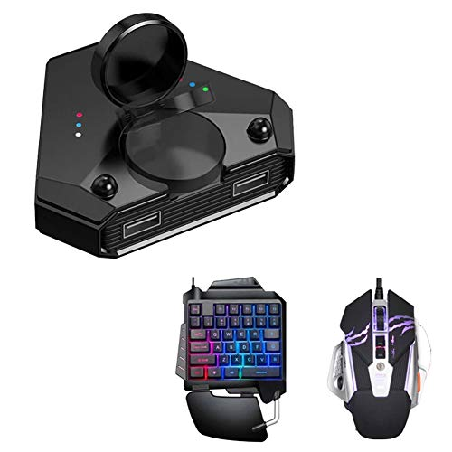 RUIHUA Muilt-Function Bluetooth 5.0 Gamepad con el Mouse del Teclado, Battledock Converter Pubg Mobile Android Controller, Controller Mobile Gaming para iOS iPad a PC