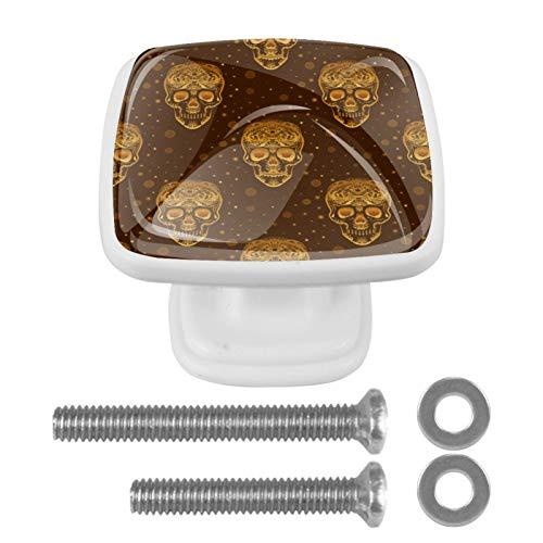 4 pomos de puerta de cristal cuadrado con tornillo para cajón, gabinete, muebles, cocina, decoración del hogar, diseño de calavera de azúcar dorada