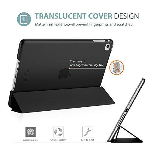 ProCase iPad Air 2 Ultra Dünn Smart Hülle, Leichte Stand Schutzhülle Shell mit Translucent Frosted Rückhülle für Apple iPad Air 2 (A1566 A1567) –Schwarz