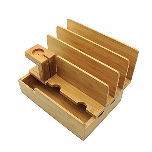 Forniture per orologi - Supporto da tavolo in legno di bambù Ricarica Supporto per caricabatterie due in uno Supporto per supporto compatibile per Apple Watch