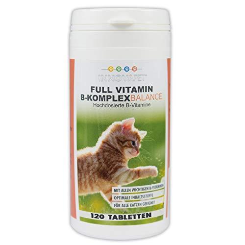 InnovaPet Full Vitamin B-Komplex Balance für Katzen 120 Tabletten (Hochdosierte B-Vitamine in Tablettenform für alle Katzen und alle Rassen geeignet)