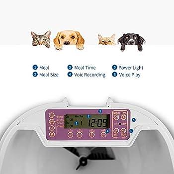 PUPPY KITTY Distributeur de Croquettes pour Chats et Chiens, 7L Distributeur Automatique de Nourriture Enregistrement Vocal Programmable 4 Repas par Jour
