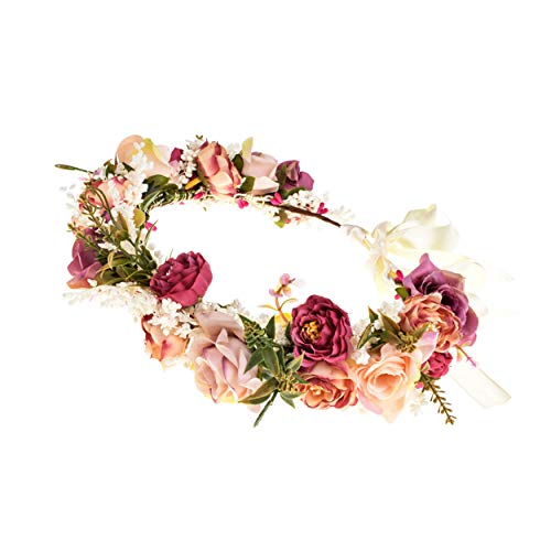 Ever Fairy - Fascia per capelli da donna, motivo floreale, corona di fiori per matrimoni ed eventi Colore: rosso Taglia unica