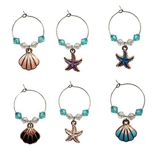 ABOOFAN 6Pcs Ocean Style Party Glass Pendant Shell Charm Wine Glass Cup Ring Decorations