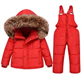 2PC Baby Snowsuit Set Winter Puffer Jacket and Snow Pants Kids Ski Suit Outfit Red 2-3 Years