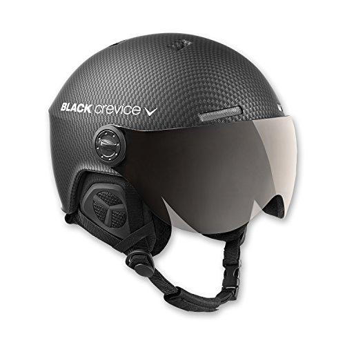 Black Crevice Skihelm mit Visier, Gstaad, BCR143921, schwarz Carbon, Gr. S/M