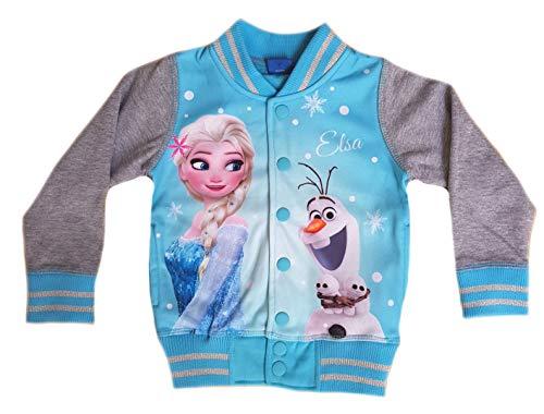 Disney Frozen Jacke Eiskönigin Mädchen Sweatjacke Freizeitjacke (128, Blau)
