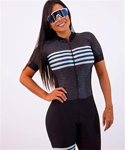 TRIATHLON Damen Radfahren Jersey Lang- / Kurzarm Jumpsuit Sommer Set Running Swimsuit Pro Sportswear (Color : 1, Size : X-Large)