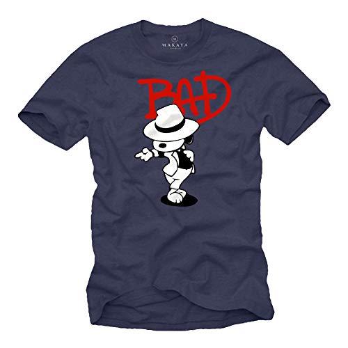 MAKAYA Herren T-Shirt mit Aufdruck Kurzarm Rundhals- Ausschnitt - Bad Dog Snoop Jackson dunkelblau Größe XXXXL