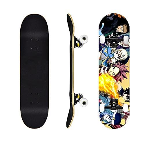 Fairy TailSkateboard Naz Grey Elisa , Cruiser Tablero Completo Siete Capas de Arce, cojinetes ABEC-7, Adecuado para Adolescentes, Adultos, Trucos para Principiantes monopatín-Fairy Tail3