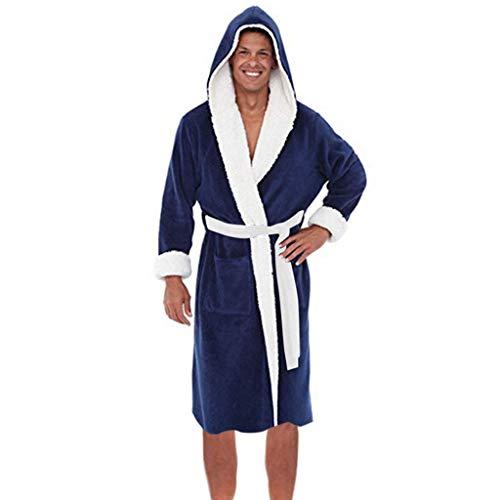 Peignoir Salle De Bain Homme Grande Taille Allonger Pyjamas ÉPaissir À Capuche Salle De Bain Ceinture Robe De Nuit - Doux, Absorbant Et Confort ÉPissage Couleur(Bleu foncé,XXXLarge)