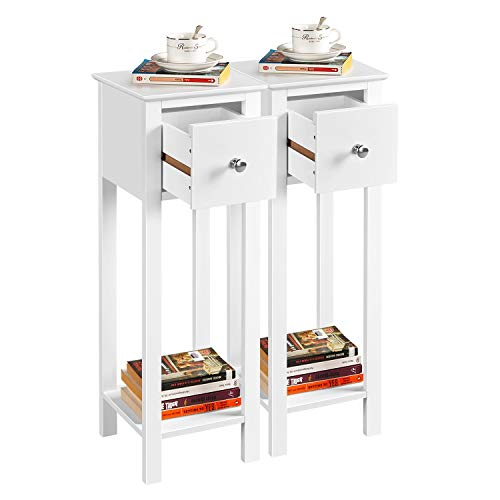 Yaheetech Slim 2PCs Bedside Tables with Drawer Contemporary Tall End Table Wooden Nightstand Narrow Hallway Side Table, White, 25x25x70cm(LxWxH)