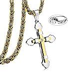 JeweBella 5MM Acero Inoxidable Collar Cruz Hombre Colgante Cruz Oro Nergo con Cadena Bizantina Collar Colgante Cruz Longitud 56-74CM