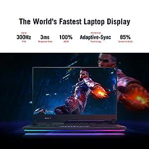 """ASUS ROG Strix Scar 15 (2021) Gaming Laptop, 15.6"""" 300Hz FHD, NVIDIA GeForce RTX 3080, AMD Ryzen 7 5800H, 16GB DDR4,1TB SSD, Per-Key RGB Keyboard, Windows 10 Home - G533QS-DS76"""