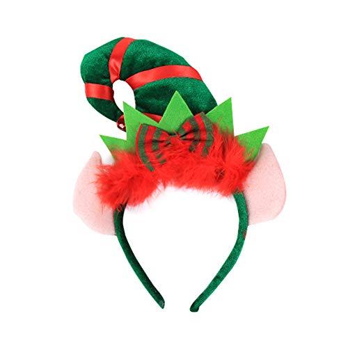 Vi.yo Diadema Turbante de Navidad Sombrerito Puntiagudo Elfo con Orejas Accesorios Tocado para Las niñas para...