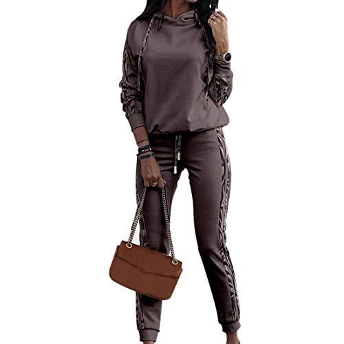 wenyujh Chándal de mujer de 2 piezas, sudadera con capucha, manga larga con pantalones deportivos, chándal de fitness, ropa deportiva para correr al aire libre Café oscuro. XL