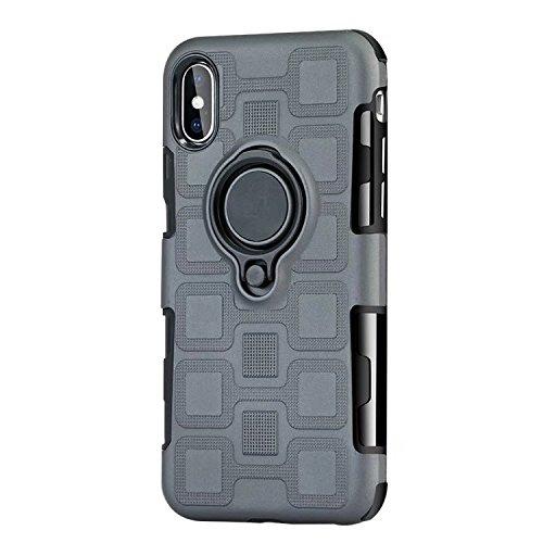 Haiqing Armor - Funda de protección 2 en 1 con soporte giratorio para anillo de dedo, soporte magnético para coche, compatible con iPhone X/XS. (color: gris)
