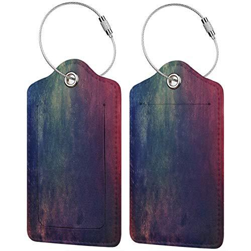 FULIYA Juego de 2 etiquetas de equipaje seguras de alta gama de cuero para maletas, tarjetas de visita o bolsa de identificación de viaje, textura, degradado, lunares, oscuro
