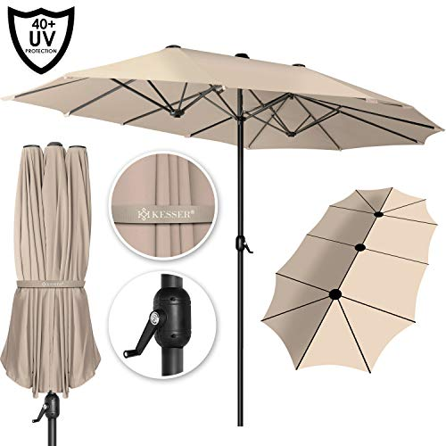 KESSER® Sonnenschirm Doppelsonnenschirm | Gartenschirm | Marktschirm | Terrassenschirm mit Handkurbel | Oval | Aluminium | UV-beständig | wasserabweisenden | Beige