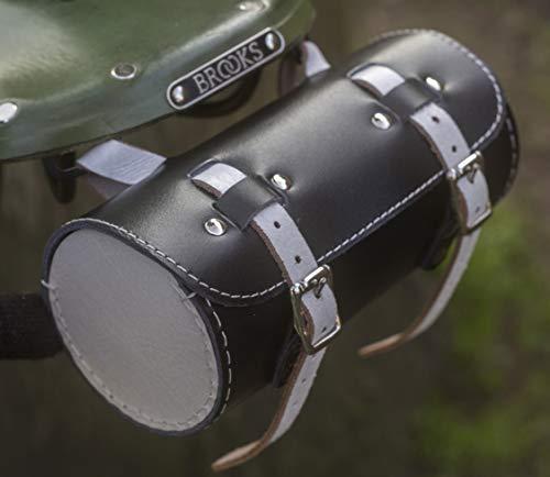 London Craftwork Bicicleta clásica redonda bolsa de herramientas cuero genuino asiento manillar negro blanco roll-bl-blanco