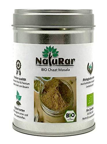 NatuRar Frisch gemahlen Bio Chaat Masala 80g Aromadose | Einzigartiges Familienrezept | Aus handverlesene Gewürze | Köstlich, scharfe, saure, salzige Mischung