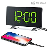 Alarm Clocks 【2020 New Version】 for Bedrooms with FM Radio, Dual Alarms, 6.7'' LED Screen, USB Port for Charging, 4 Brightness, 12/24H, Automatic Dimmer, Digital Alarm Clock for Snooze Kitchen Office