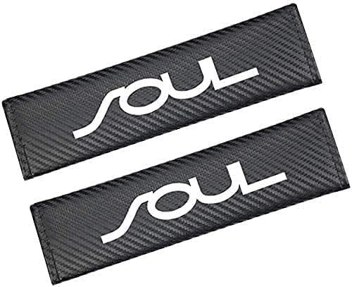 2 Piezas con Auto Logo Almohadillas ProteccióN CinturóN Seguridad para Kia Soul, CinturóN de Seguridad Correa Hombreras Coche Interior DecoracióN Accesorios