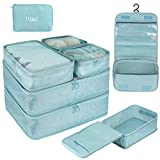 DIMJ Packing Cubes for Travel, 8 Pcs Travel Cubes for Suitcase Lightweight Travel Essential Bag with Large Toiletries Bag for Clothes Shoes Cosmetics Toiletries (Blue)