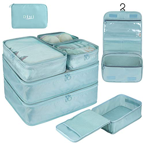 DIMJ Packing Cubes for Travel 8 Pcs Travel Cubes for Suitcase Lightweight Travel Essential Bag with Large Toiletries Bag for Clothes Shoes Cosmetics Toiletries Blue