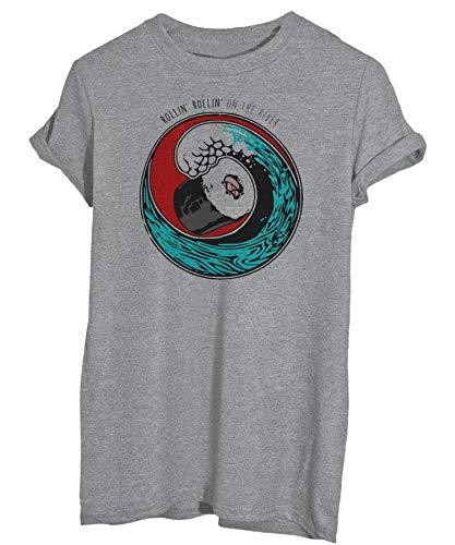 T-Shirt Sushi Rollin' On The River Roll di Maki Onda Giappone-Famosi - Uomo-L-Grigia